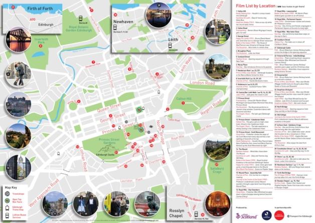 La mappa dei film a Edimburgo